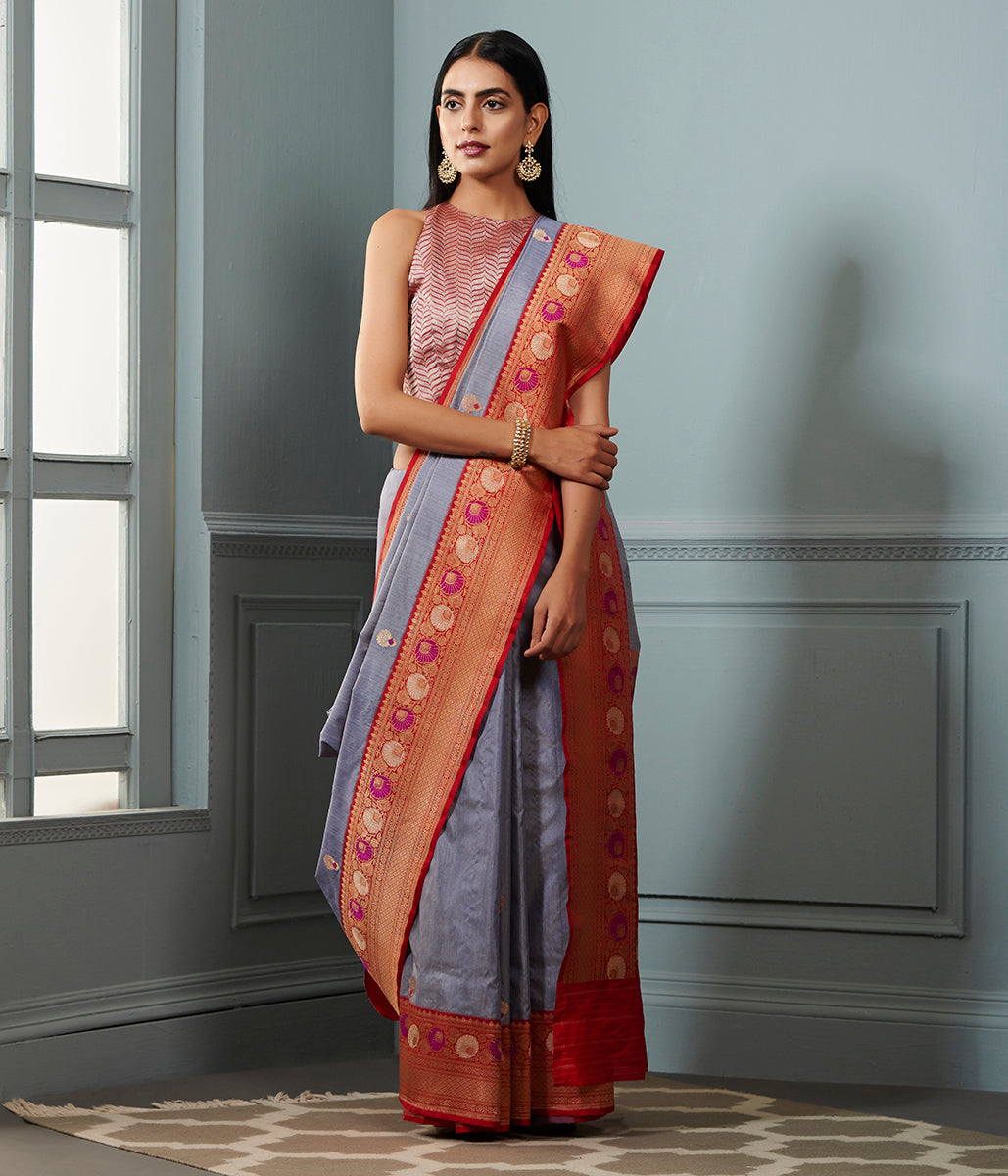 Grey munga silk banarasi saree with red contrast border