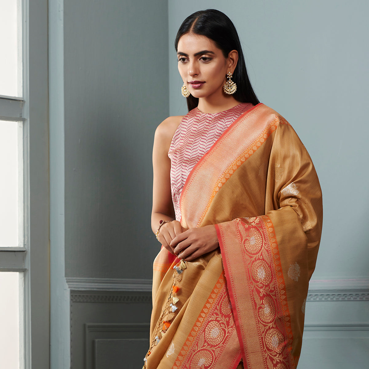 a731397c4831e Golden beige tusser silk georgette saree with contrast orange border -  WeaverStory
