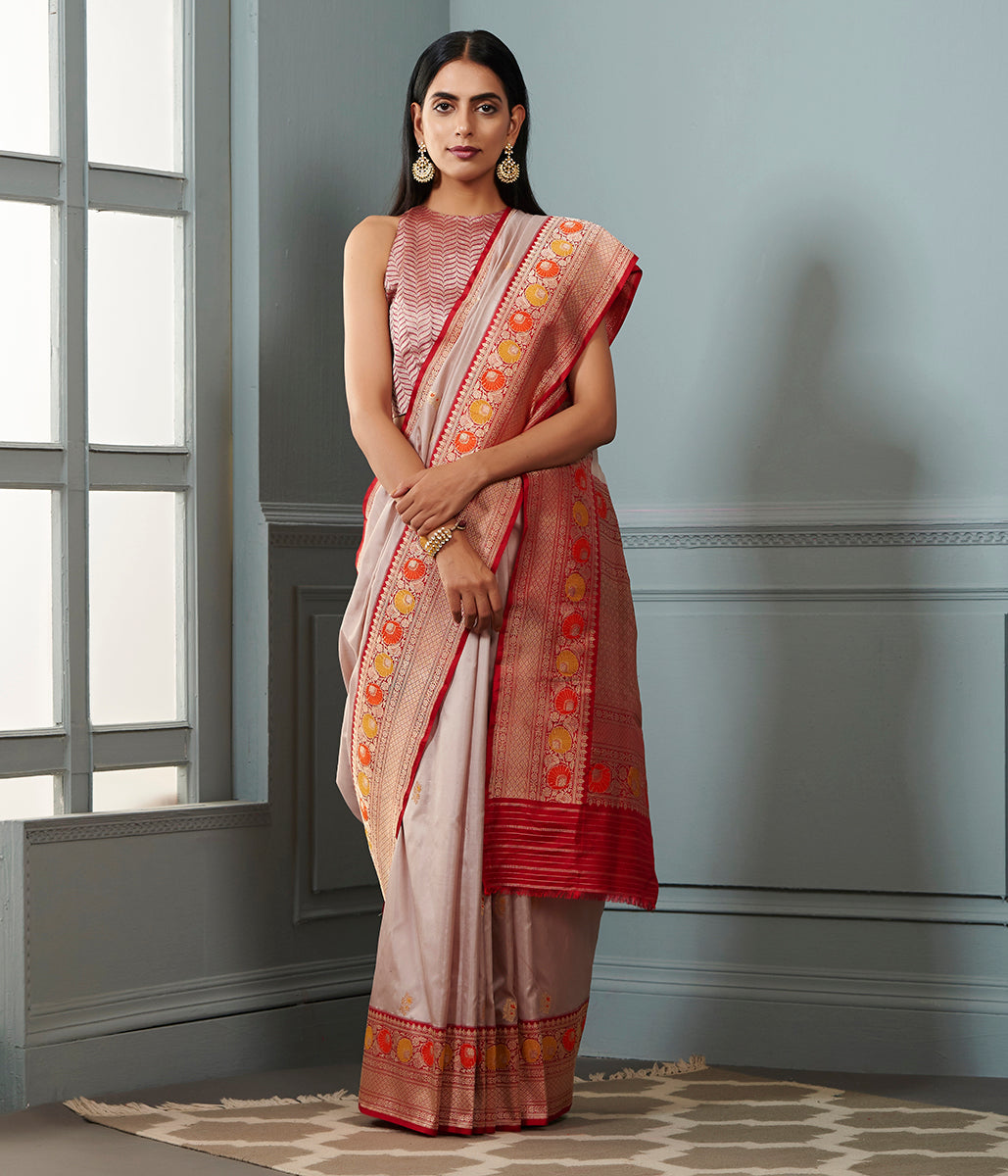 Grey pink katan silk saree with red border