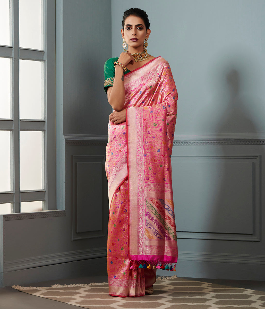Pink and gold meenakari kimkhab saree with a bright pink selvedge