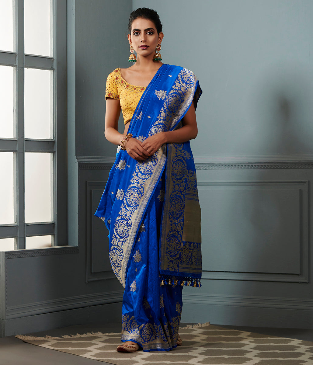 Royal Blue floral border saree with kadhwa booti