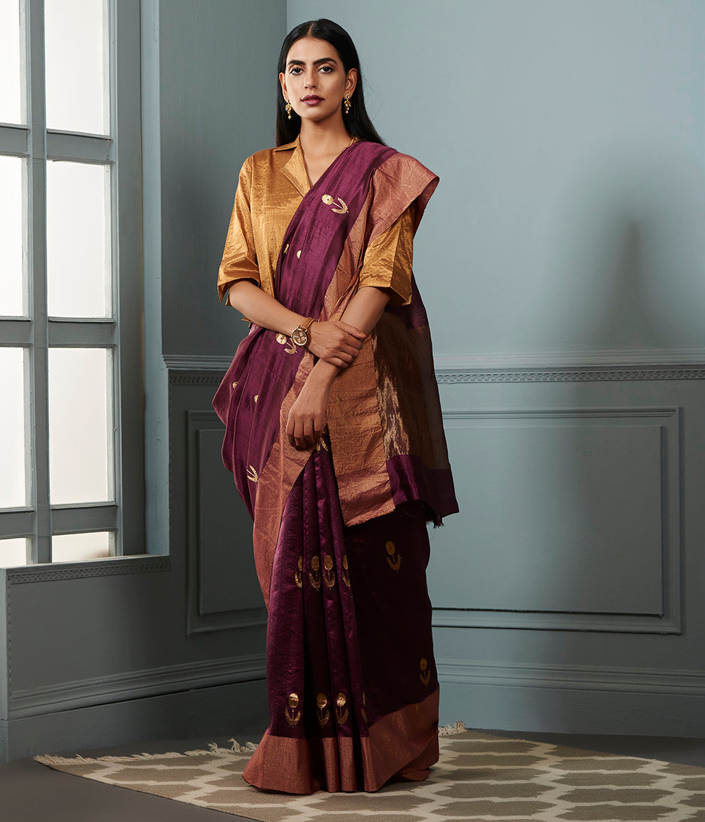 Wine chanderi silk saree with zari boota and bronze zari border