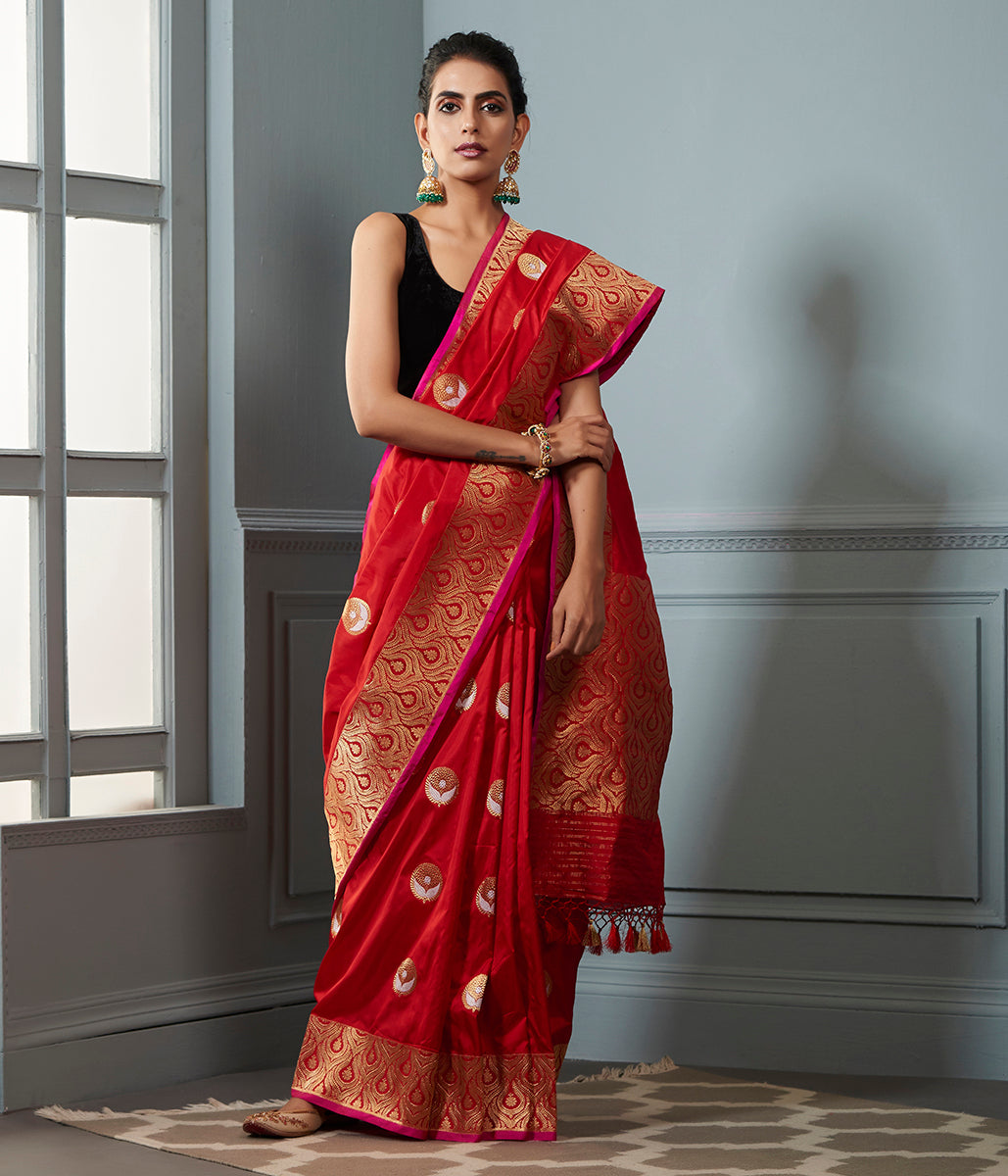 Red Kadhwa banarasi saree with sona Rupa booti