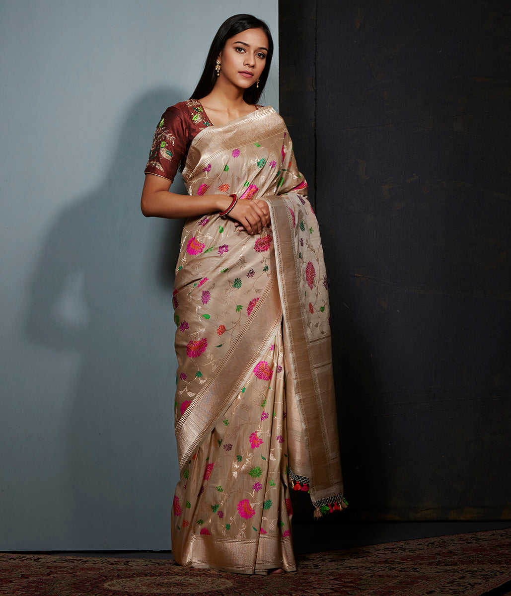 Golden beige tusser silk saree with meenakari floral jaal