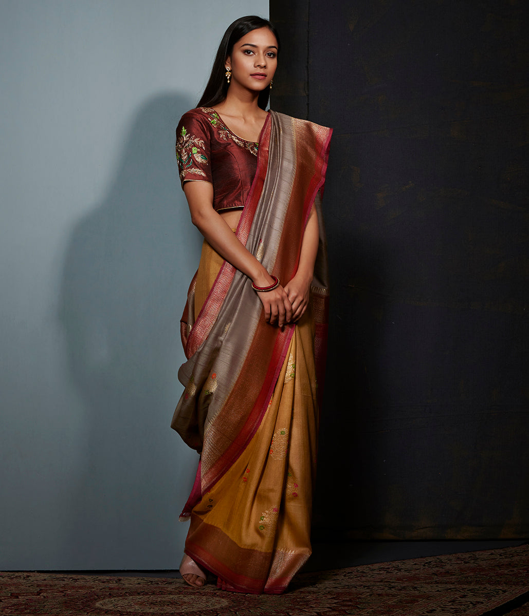 Mustard olive and wine ombre dyed meenakari boota saree in tusser georgette