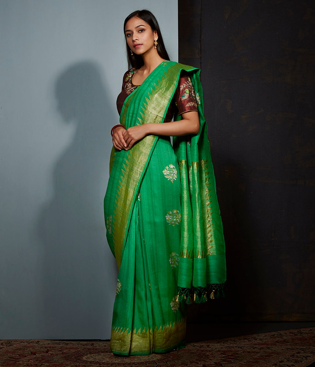 Green tusser silk and georgette saree with sona rupa zari boota