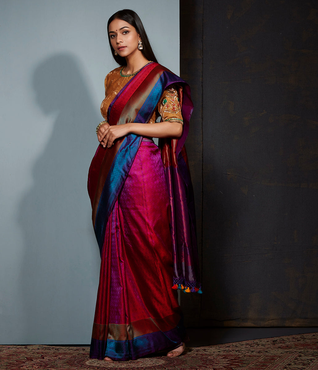 Purple and blue banarasi jamawar saree