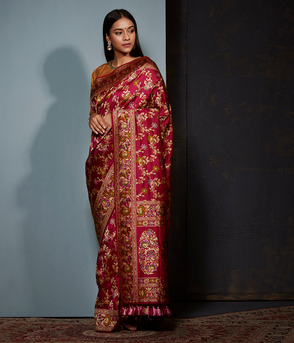 Wine parsi gara weave jangla saree with meenakari