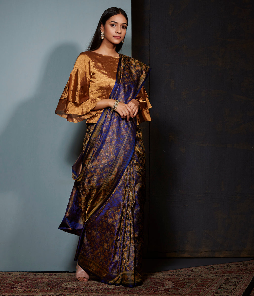Navy blue banarasi Jamawar saree