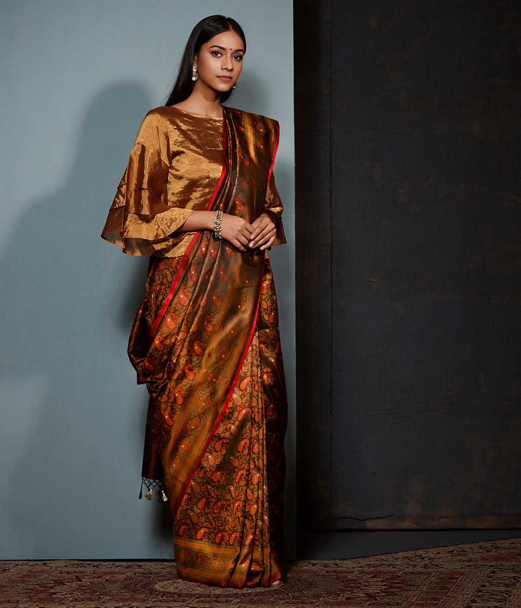Black and rust banarasi Jamawar saree with paisleys in resham and zari