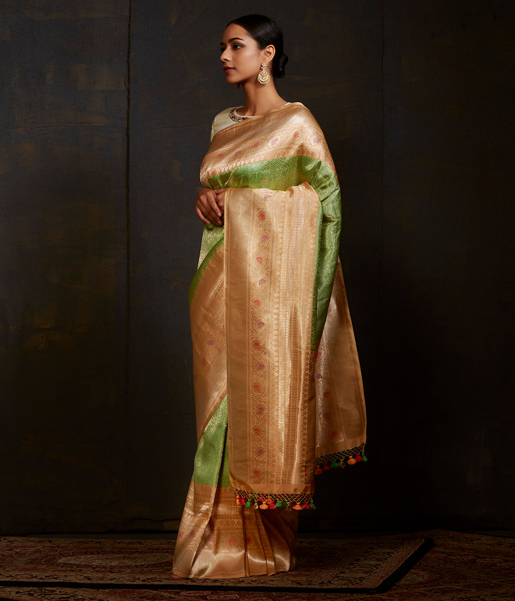 Light green Kimkhab saree with contrast border in peach