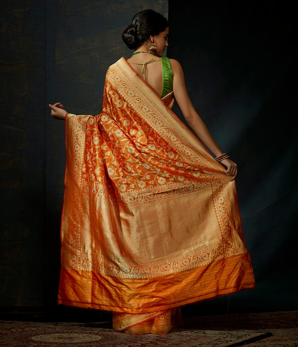 Yellow and red dual tone kadhwa jangla with meenakari