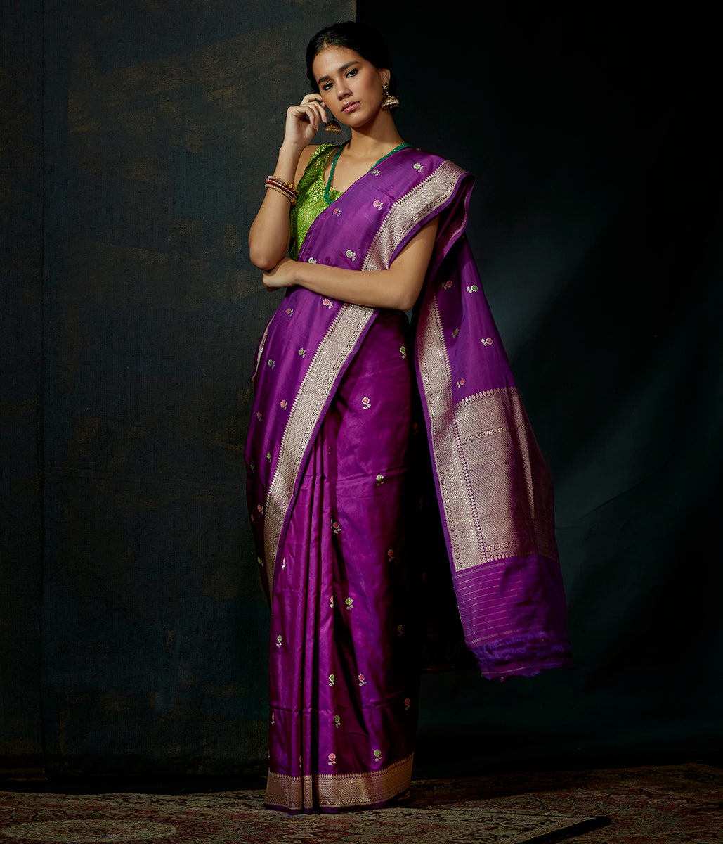 Purple katan silk saree with kadhwa booti and meenakari