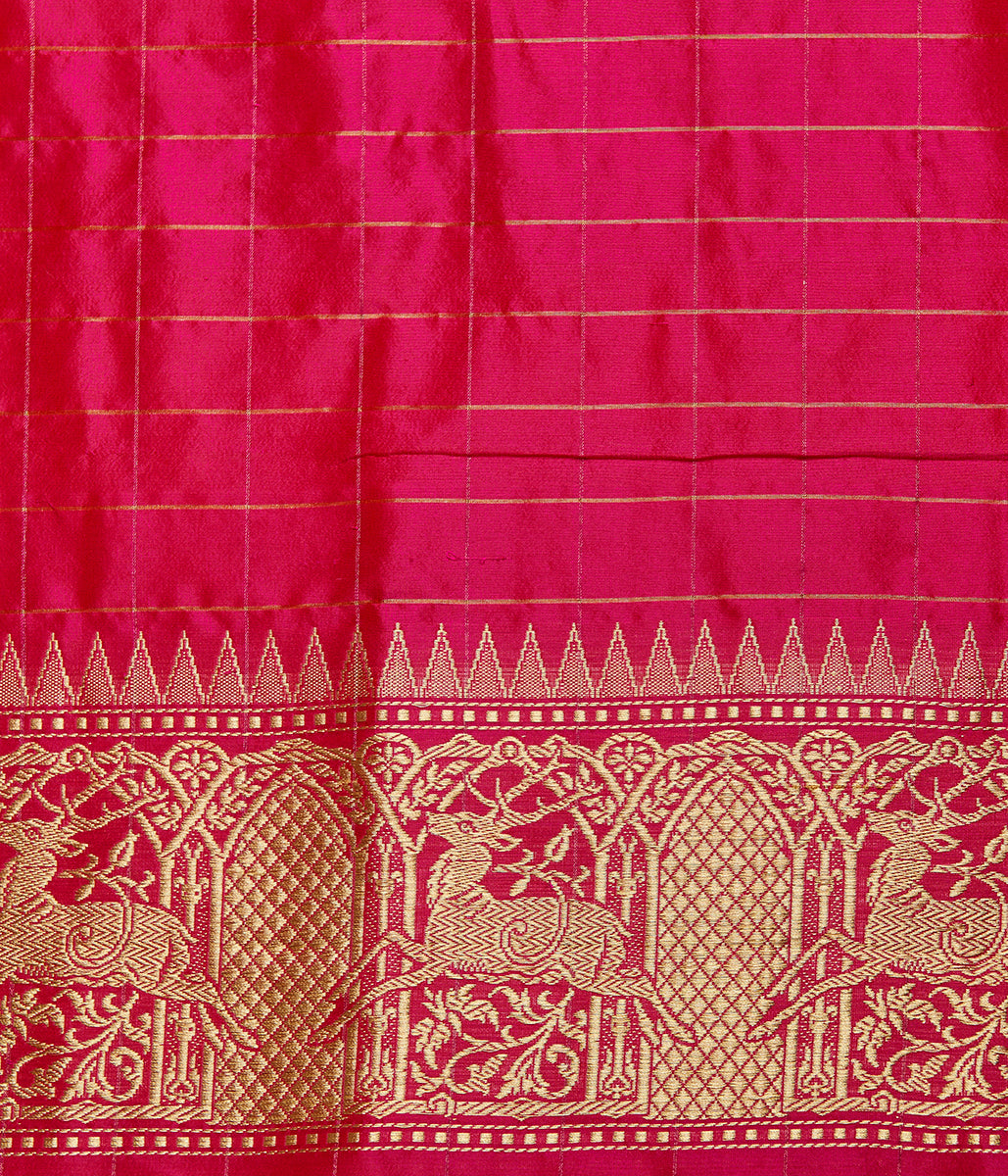 Yellow kadhwa banarasi saree with pink animal motif border