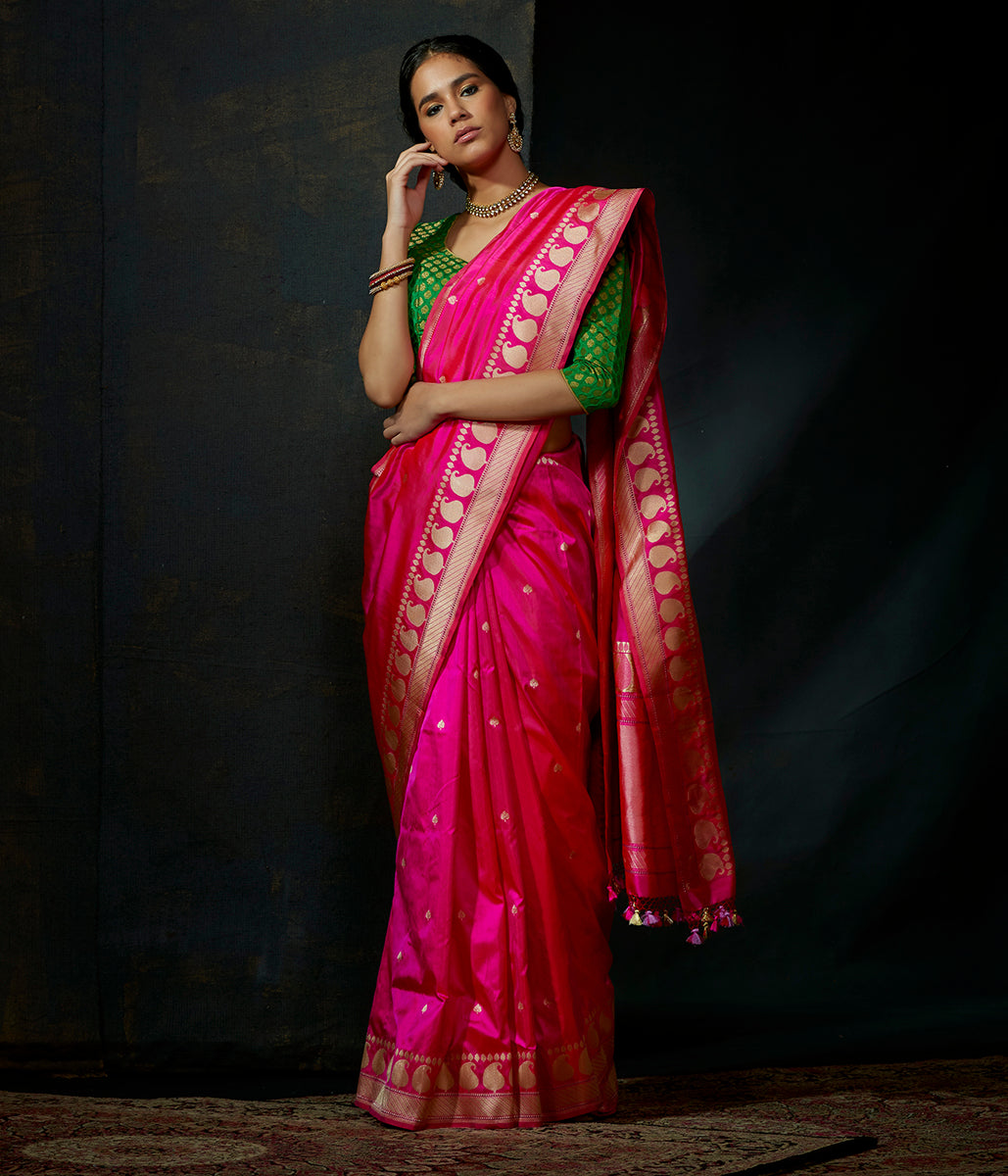 Hot Pink kadhwa booti saree with paisleys on border and konia pallu