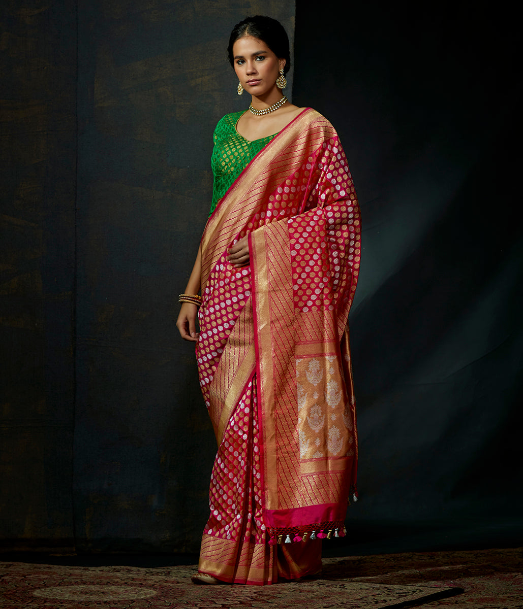 Pink and red dual tone katan silk kadhwa jangla with sona rupa zari