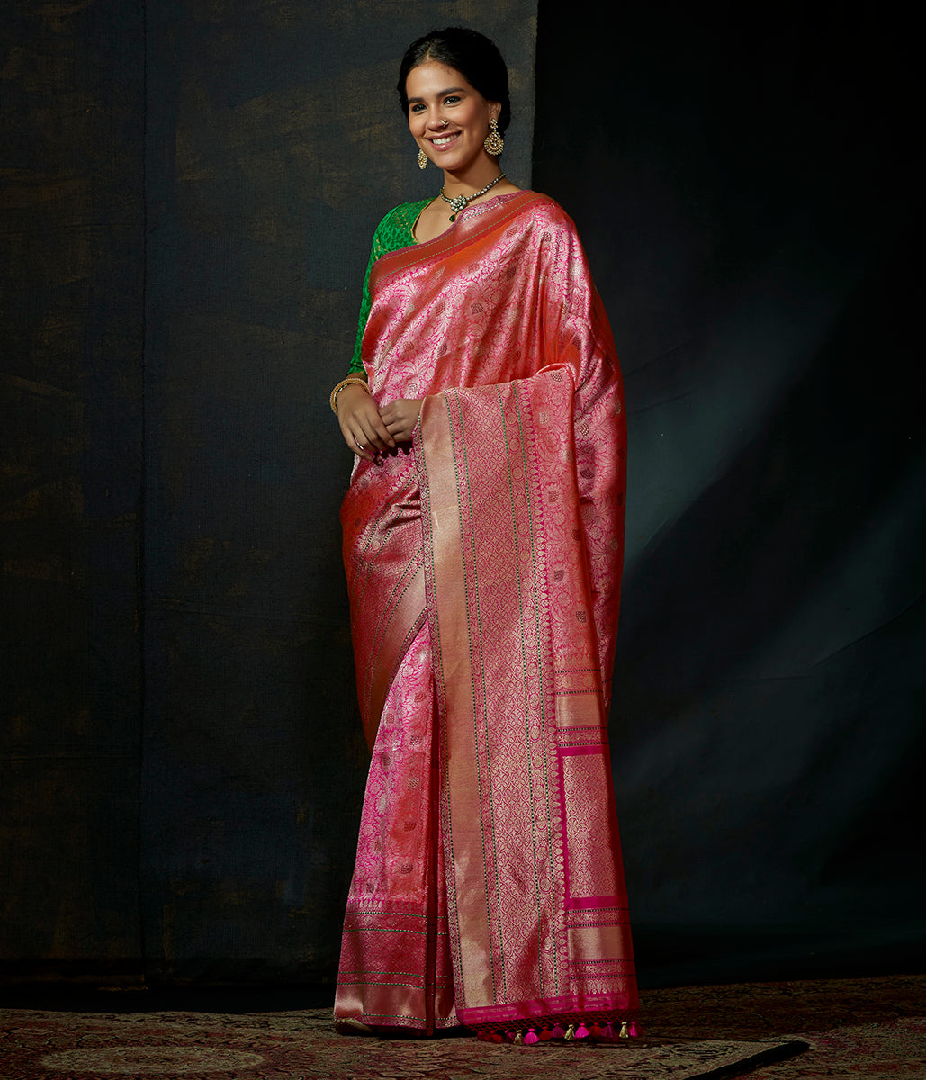 Pink and gold meenakari kimkhab saree with meenakari
