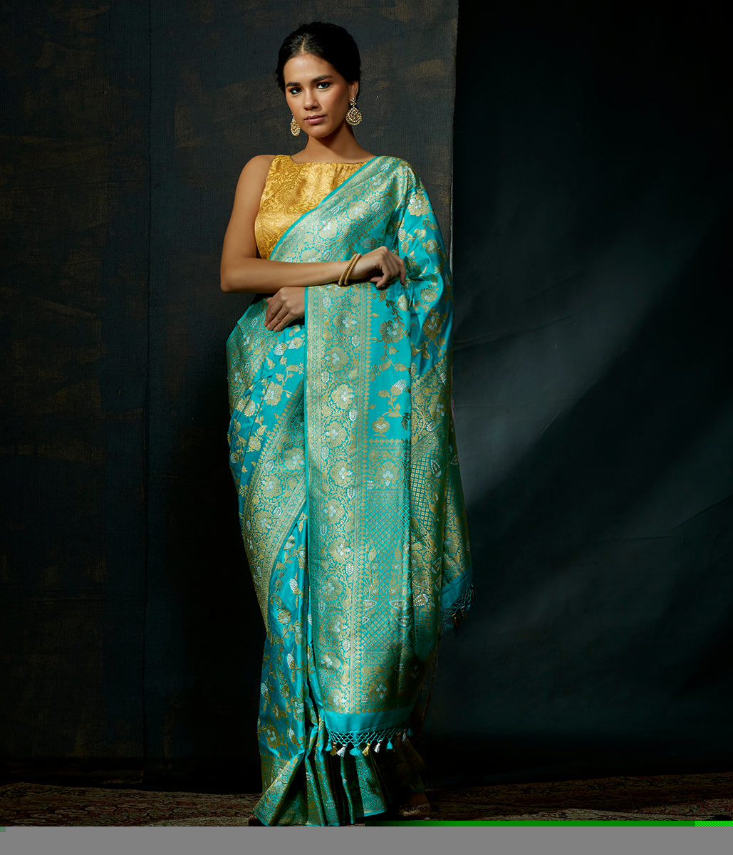 Light blue handwoven katan silk kadhwa jangla with sona rupa zari