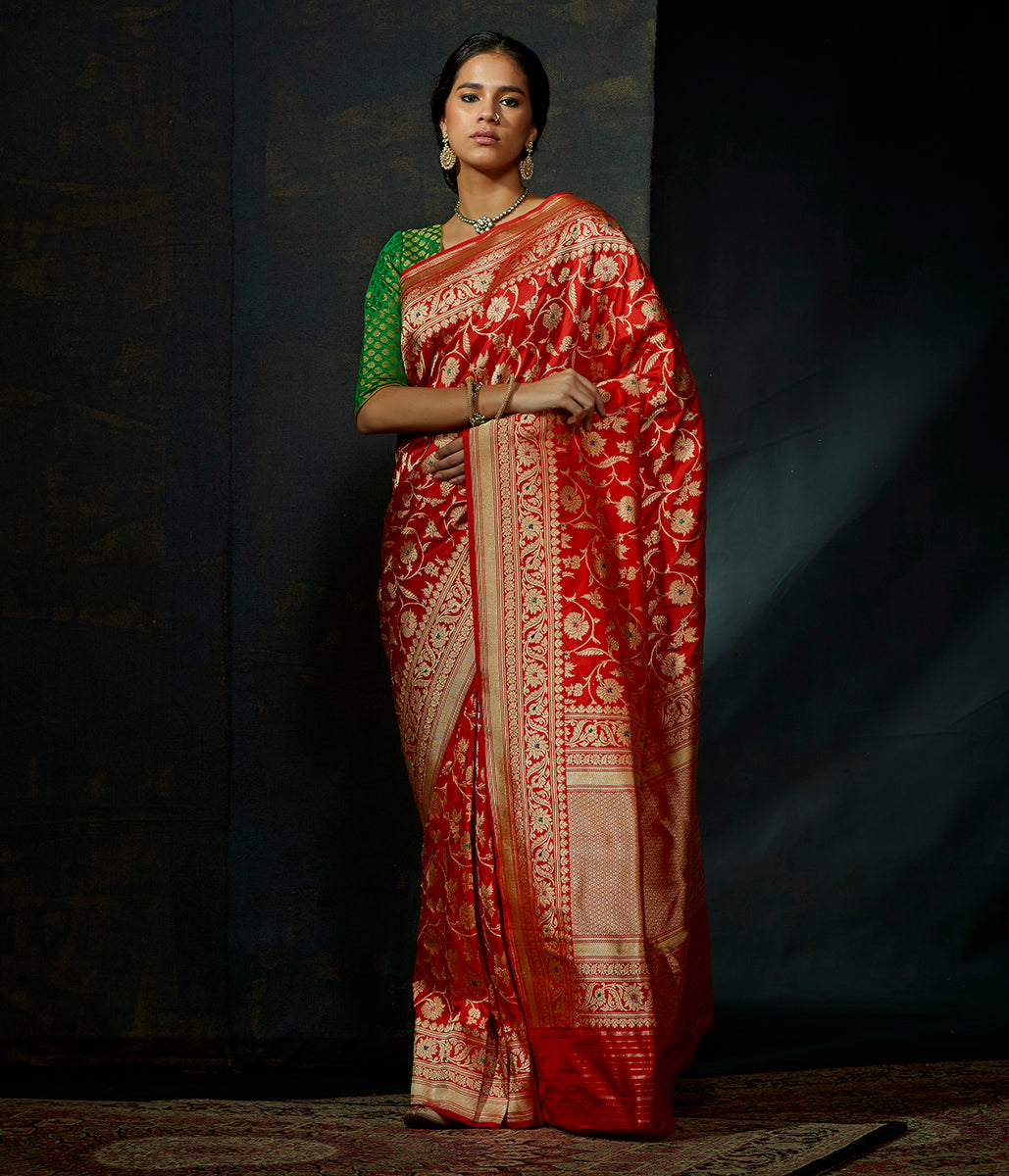 f49466f53cd607 Red single ikat patola saree with tissue border - WeaverStory