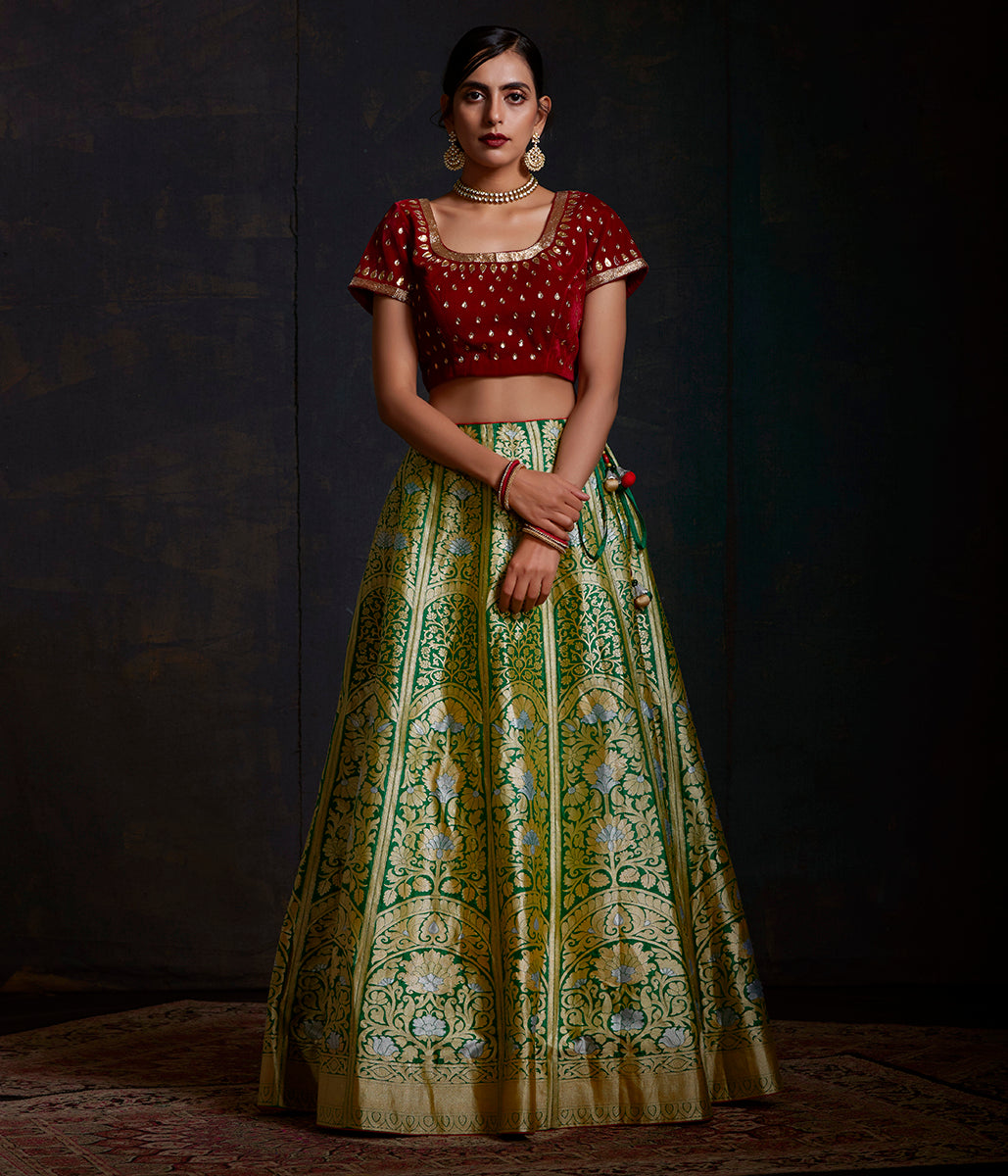 Handwoven Banarasi Katan Silk Lehenga in emerald green