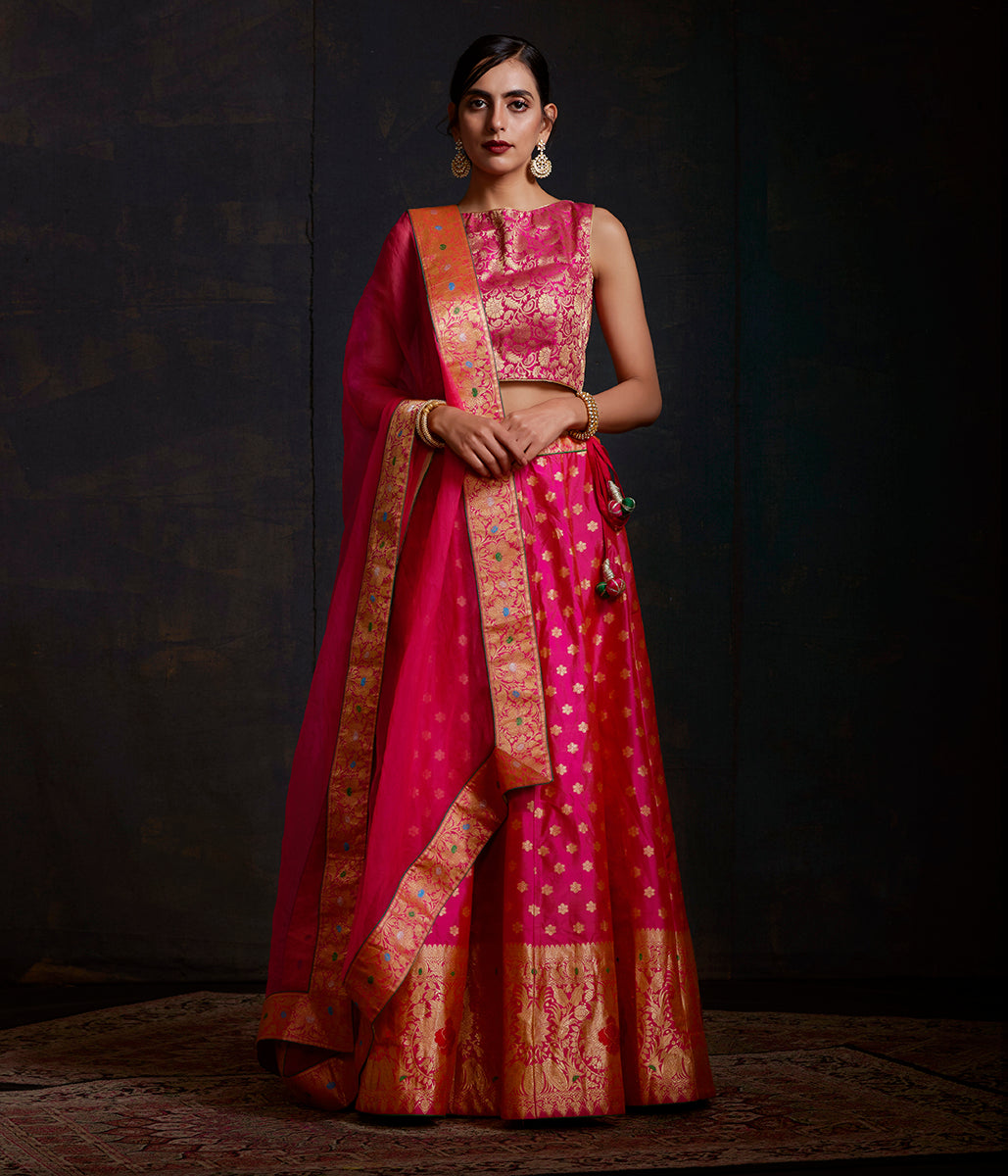 Handwoven Banarasi Katan Silk Lehenga in Hot pink and orange dual tone