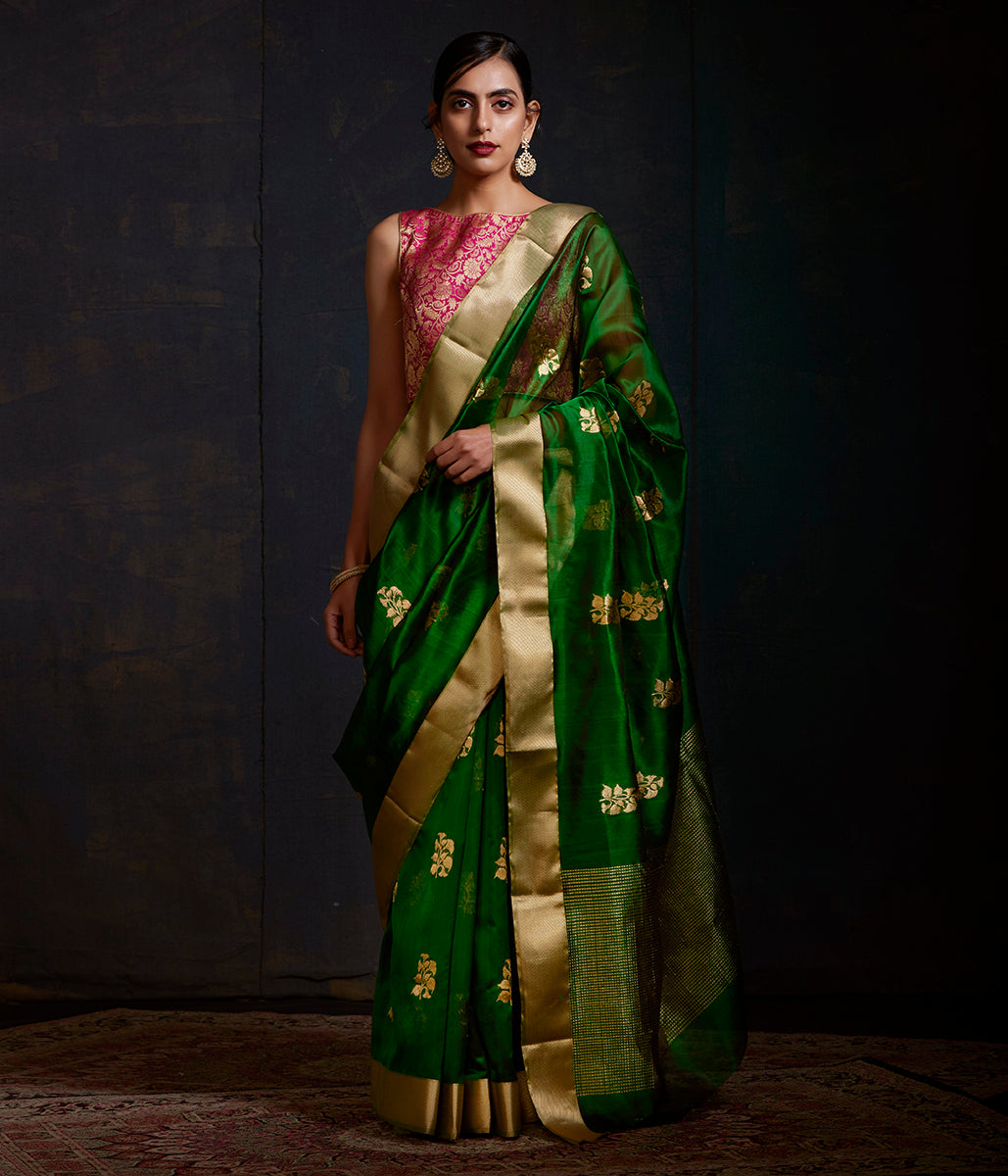Emerald green chanderi silk saree with gold zari motifs