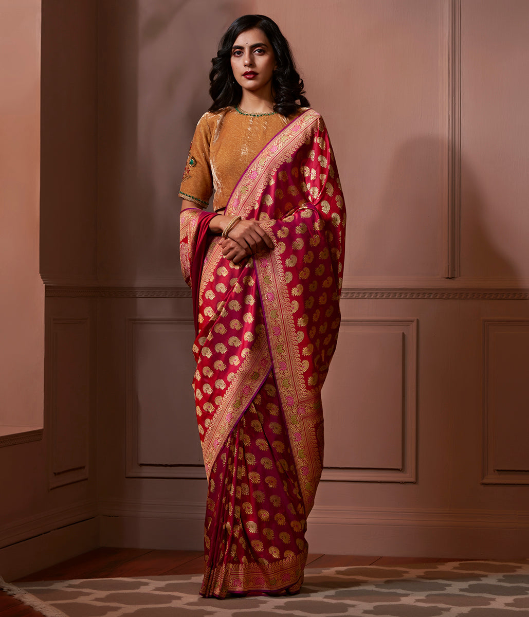 Banaras Baluchari saree in dual tone of Red and Purple
