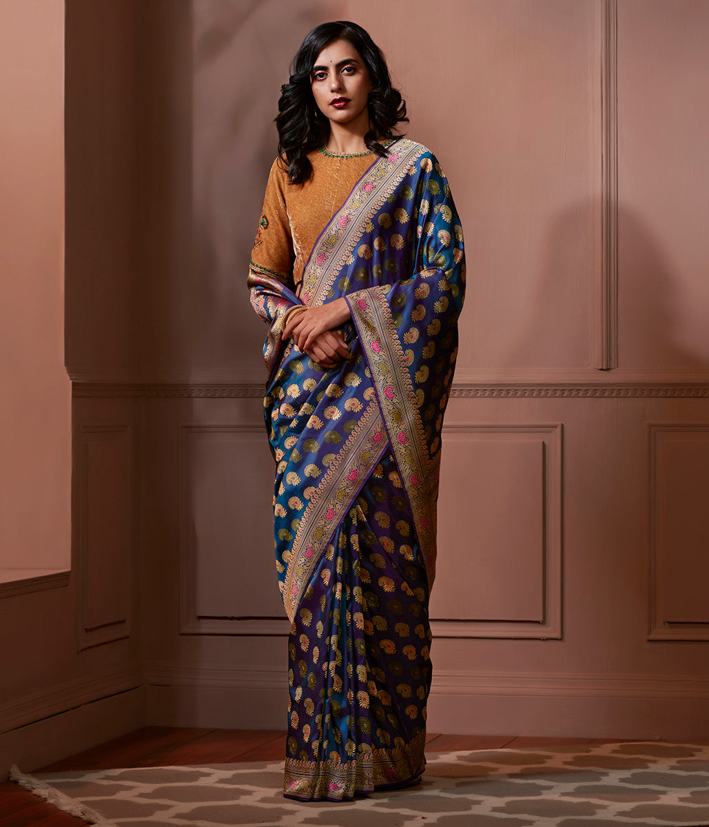 Banaras Baluchari saree in dual tone Blue and Purple