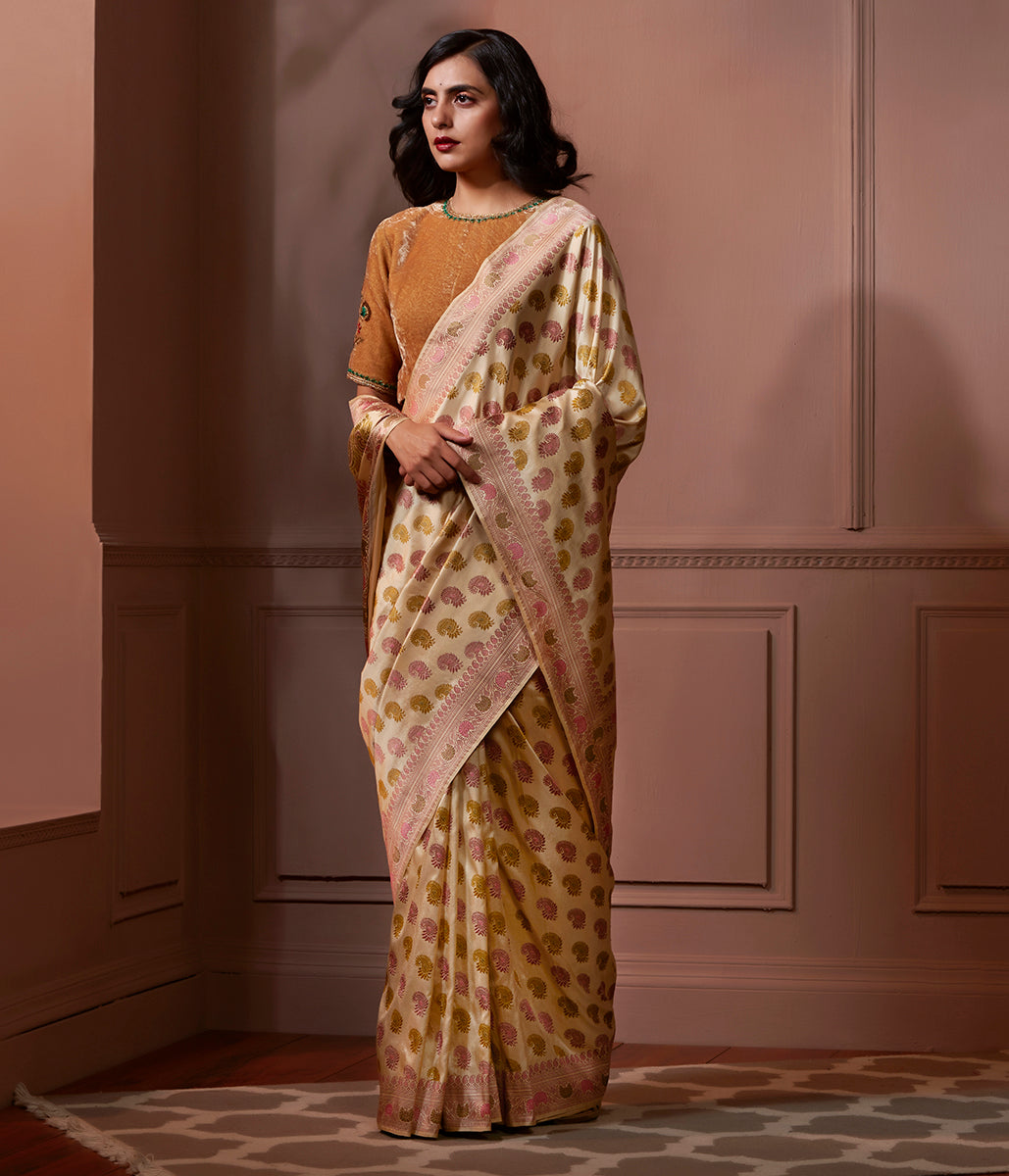 Banaras Baluchari saree in Natural Tusser color with pastel meenakari