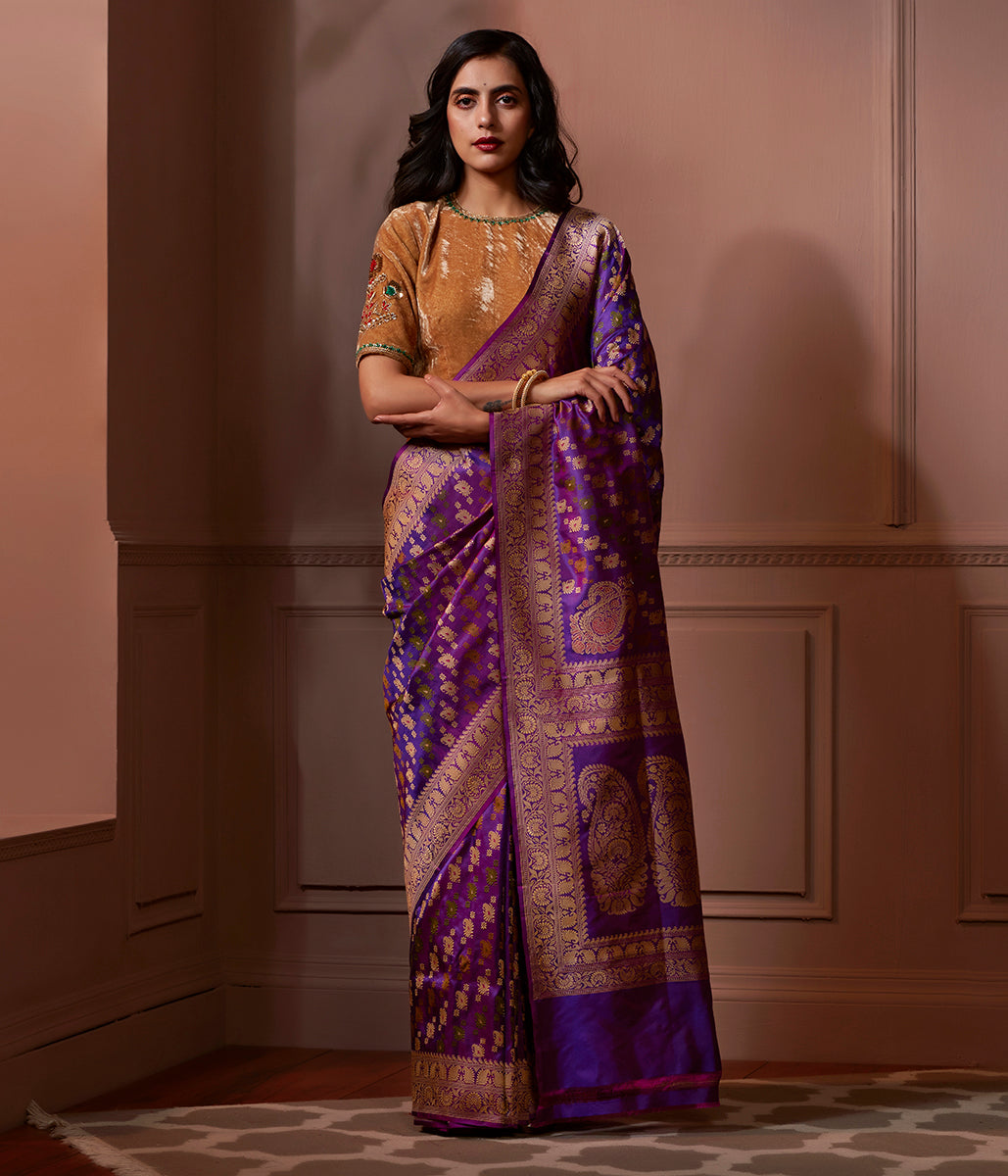 Banaras Baluchari saree in purple with kalka on pallu and kairi booti on pallu
