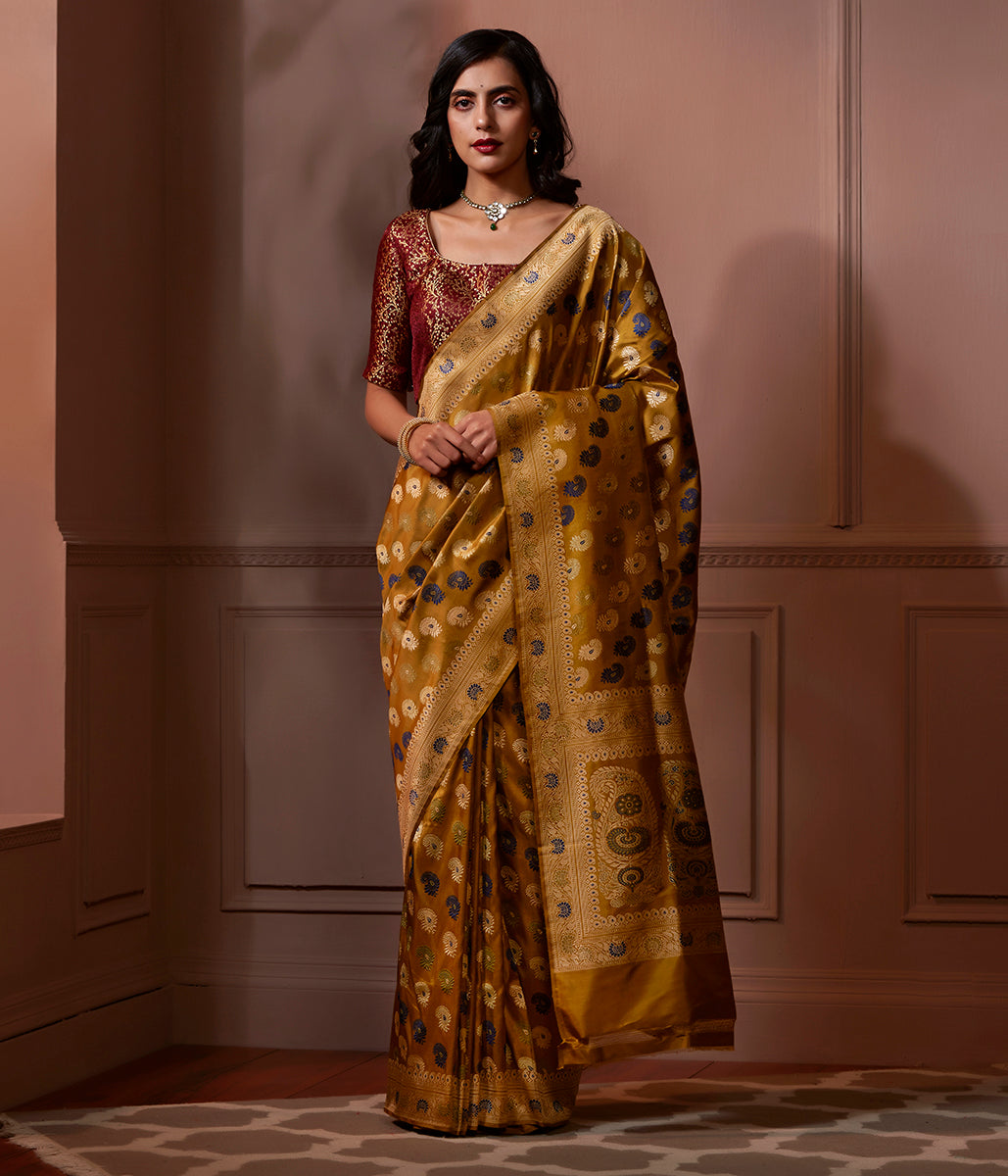 Banaras Baluchari saree in Mustard with kalka on pallu