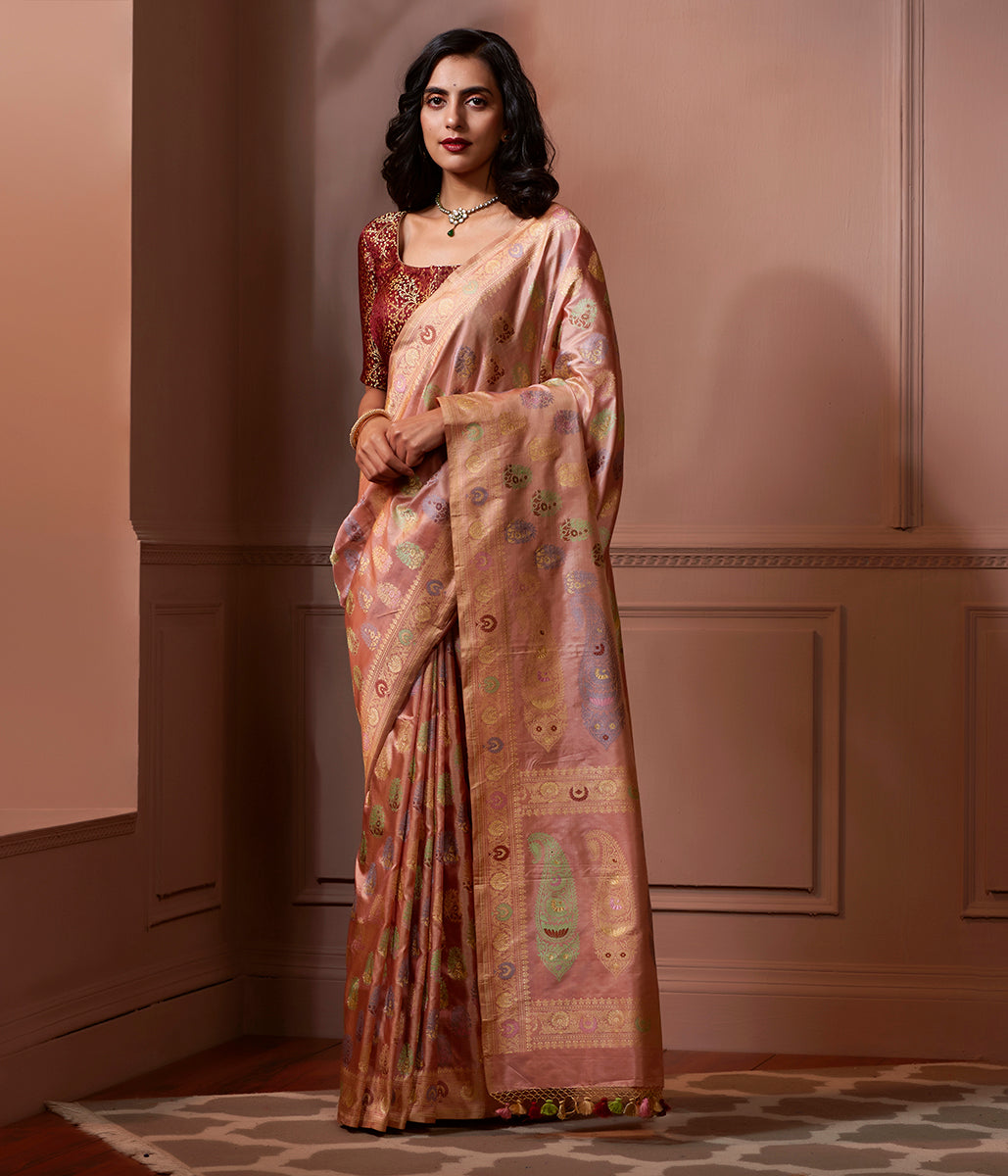 Banaras Baluchari saree in soft peach with meenakari