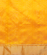 Mango yellow chanderi silk saree with gold zari boota with silver meenakari