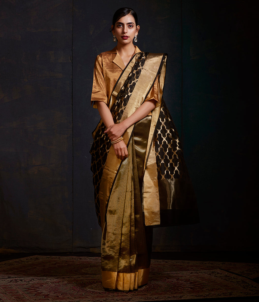 Black and gold chanderi silk saree with heavy pallu