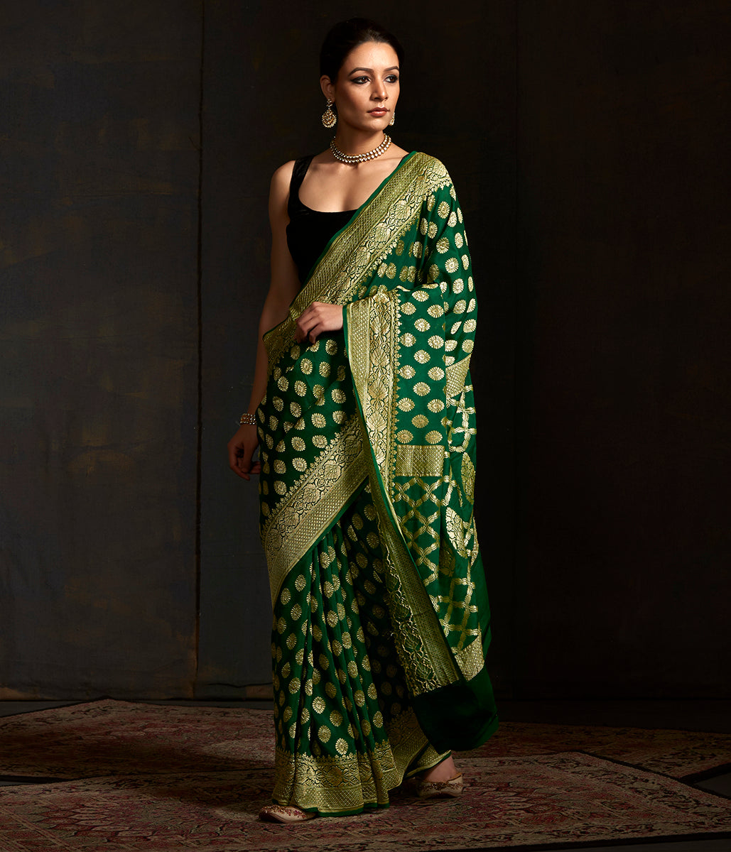 Green banarasi georgette saree with zari motifs