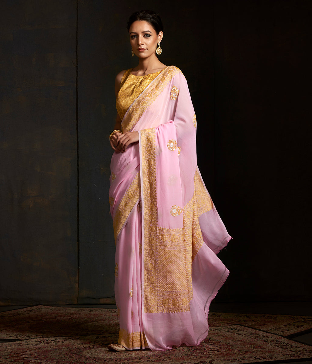 Soft pink banarasi georgette saree with kadhwa boota in gold and silver zari