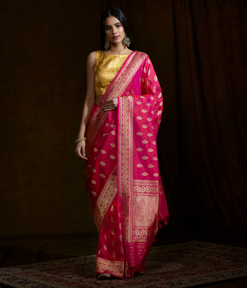 Handwoven Pure katan silk saree with kadhwa booti and beldaar border