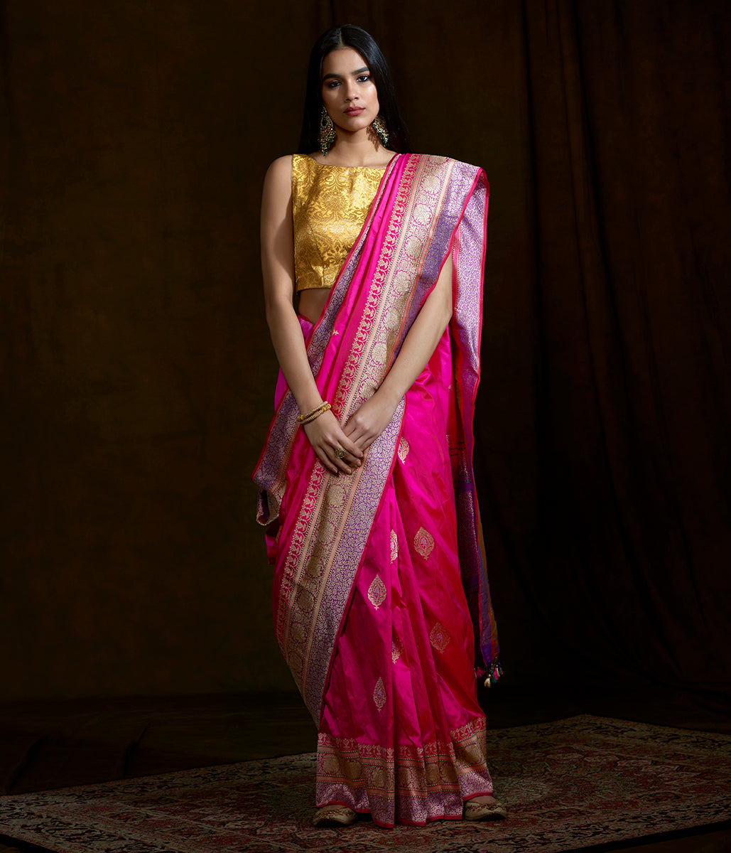 Handwoven Pink katan silk saree with purple border and pallu and kadhwa booti