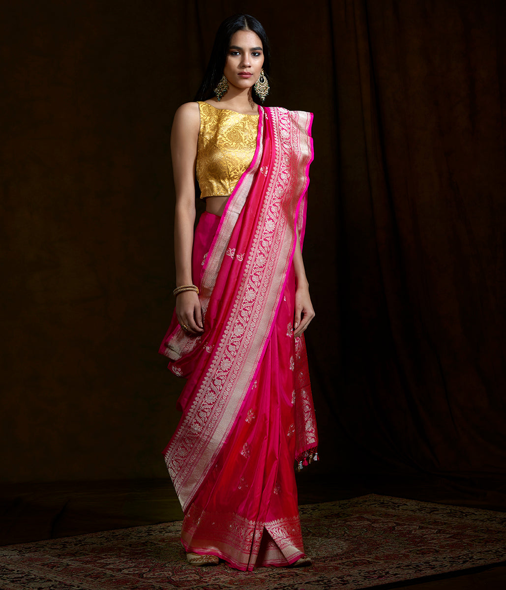 Hot Pink Handwoven kadhwa banarasi saree with floral border