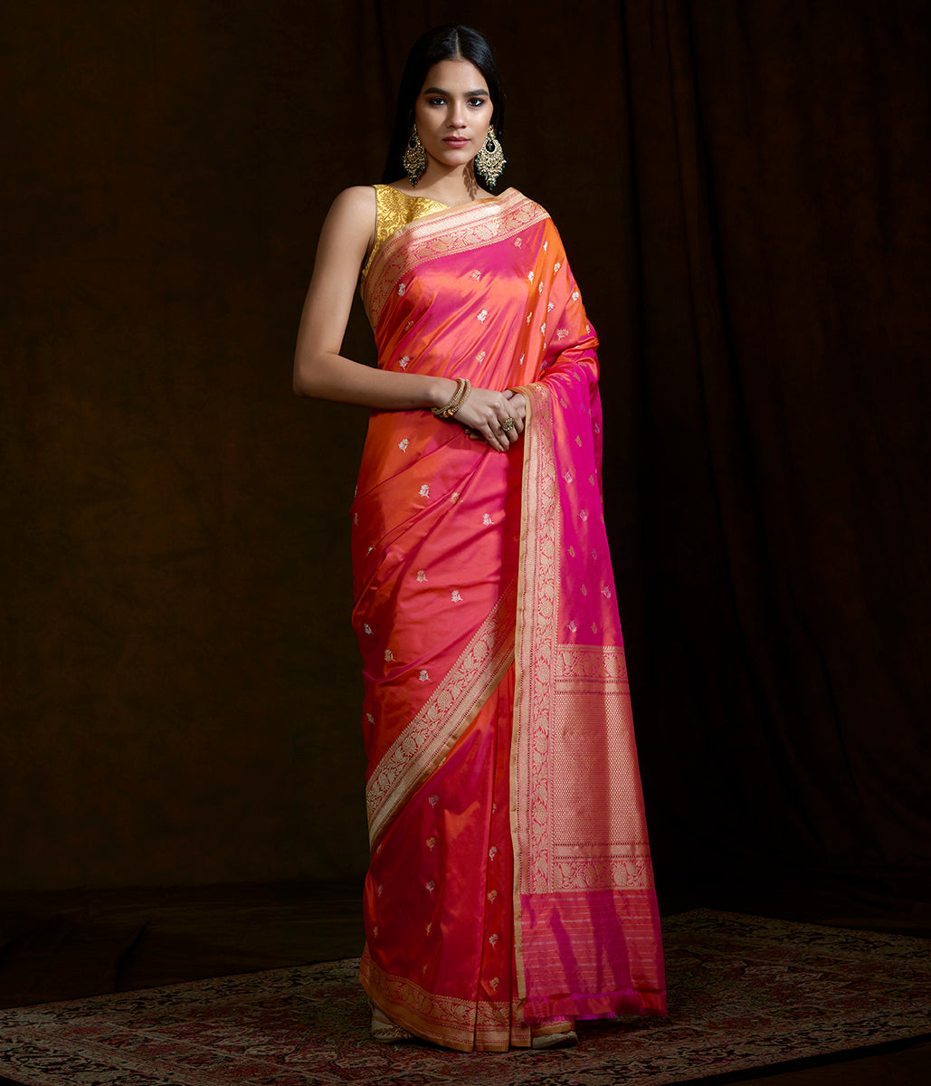 Pink and orange dual tone katan silk saree with kadhwa booti and beldaar border