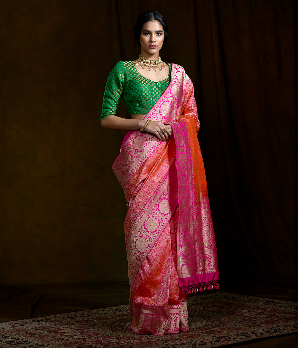 Pink Dampaj weave jangla with meenakari and floral border