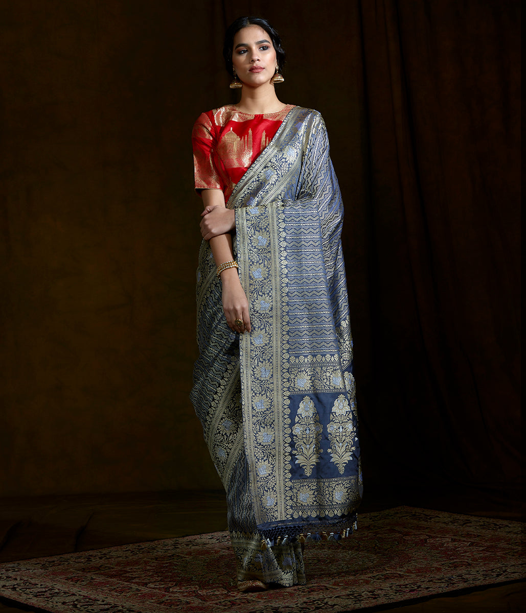 Handwoven banarasi katan silk saree woven in fine kimkhab weave with kadhwa borders and pallu