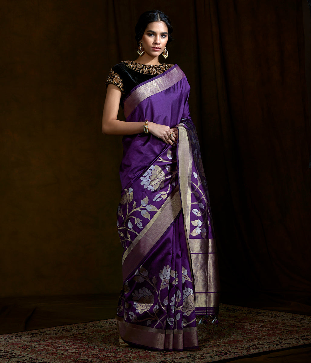 Handwoven dupion silk banarasi with floral borders woven in sona rupa zari