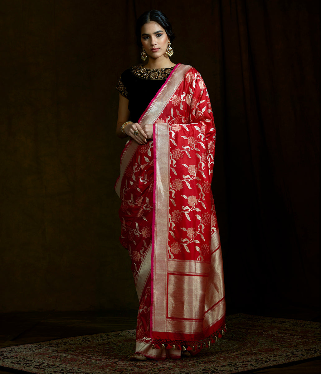 Bright red sona rupa banarasi saree with floral jaal and meenkari detailing