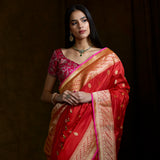 Handwoven banarasi katan silk saree with kadhwa boota and pink selvedge