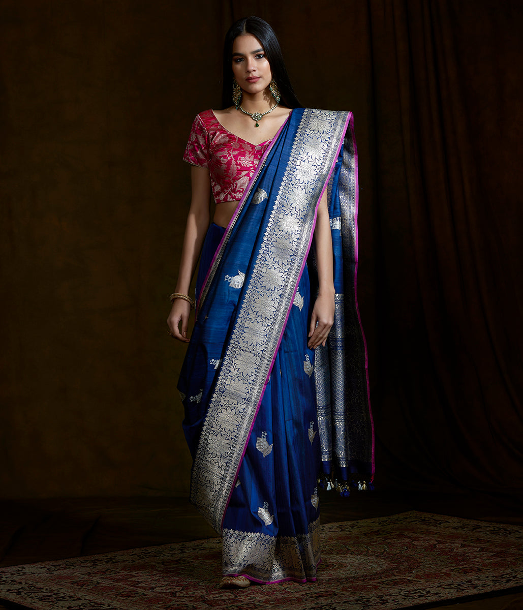 Handwoven banarasi tusser silk saree with kadhwa boota and pink selvedge