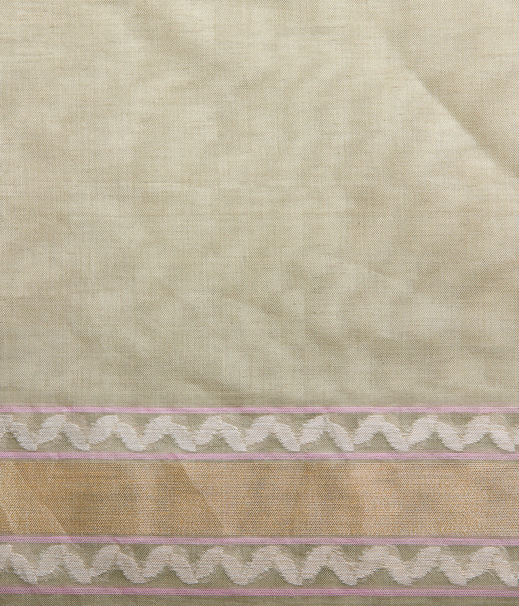 Handwoven cotton banarasi in pistachio green with all over floral jaal woven in jamdani weave