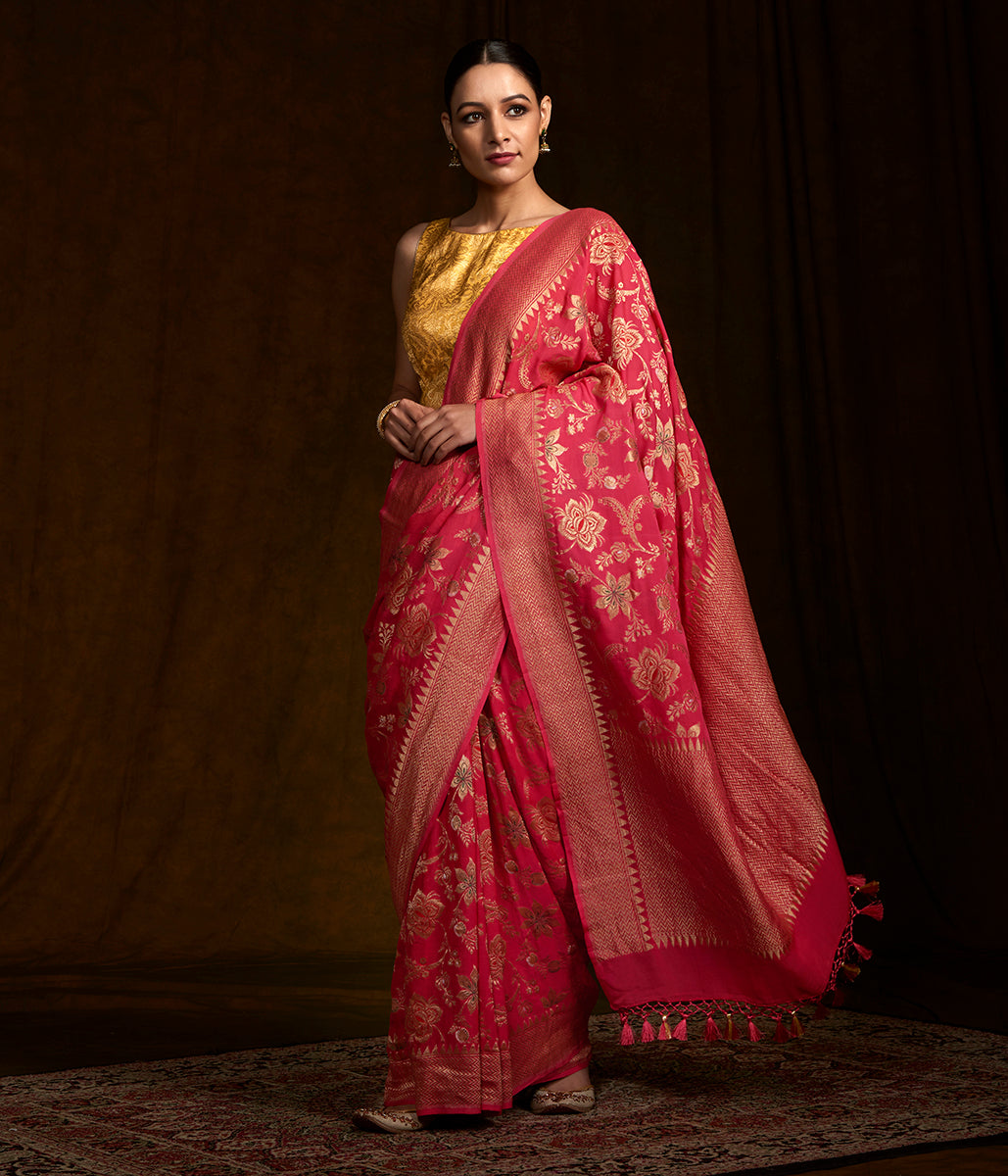 Coral Red Handwoven Banarasi georgette saree with meenakari jaal