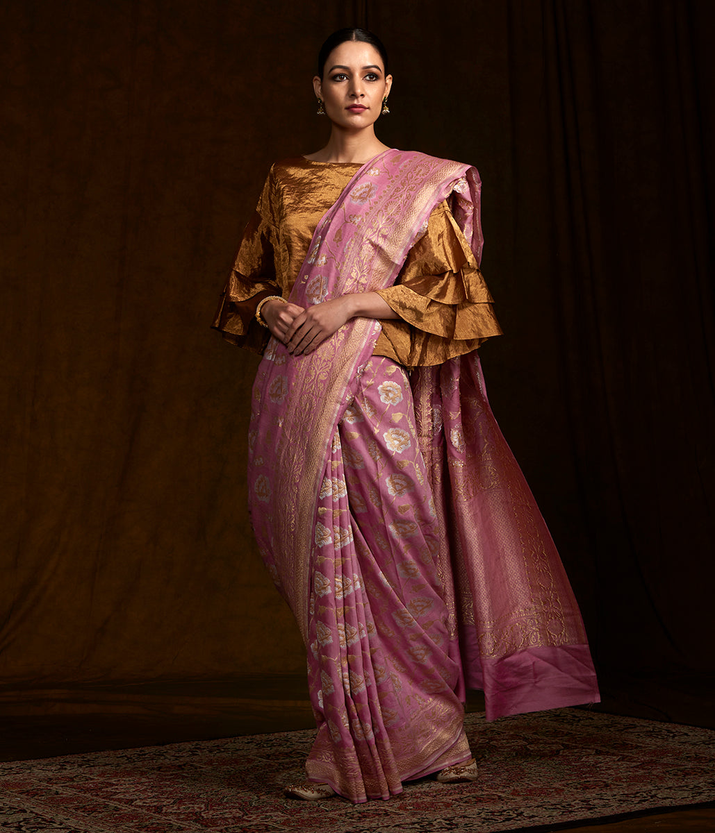 Rose pink Handwoven Banarasi munga silk saree woven with sona rupa zari