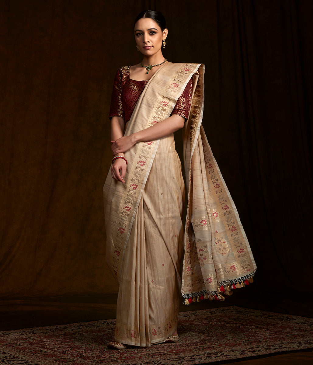 Handwoven Banarasi Tusser silk saree with kadhwa booti and meenakari border